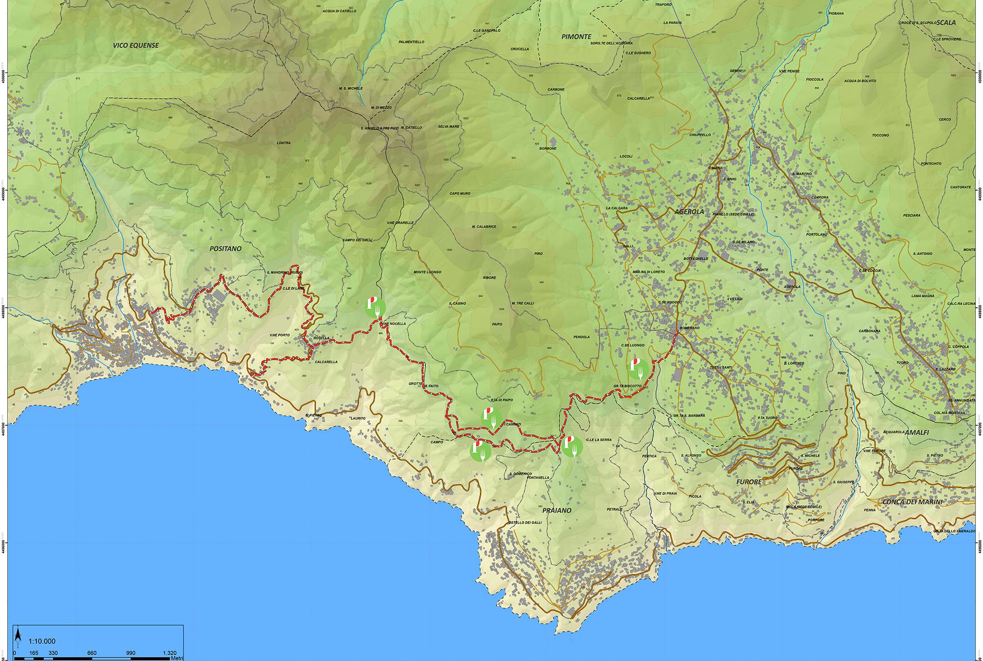 Cartina Costiera Amalfitana E Capri.Scarica O Compra La Mappa Del Sentiero Degli Dei Mappe Escursionistiche Dettagliate Della Costiera Amalfitana